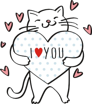 I love you,cute cat illustration vector for kids