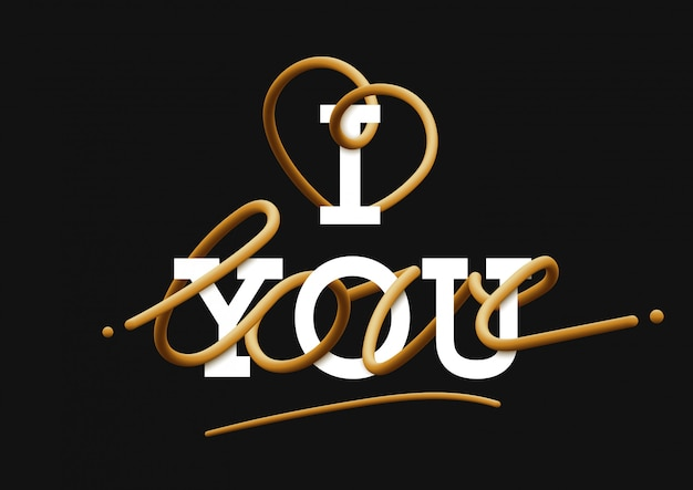 I love you gold lettering