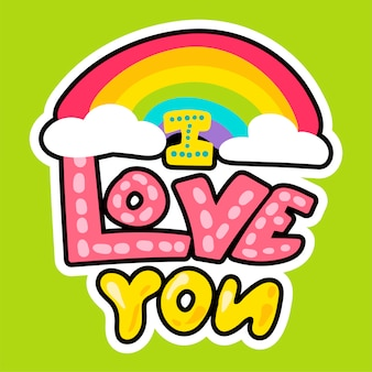 I love you on green background