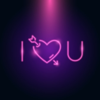 I love you letter neon glow in the dark