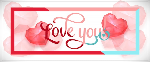 I love you lettering with hearts