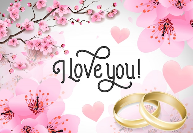 I love you lettering with wedding rings
