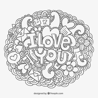 I love you message and doodles