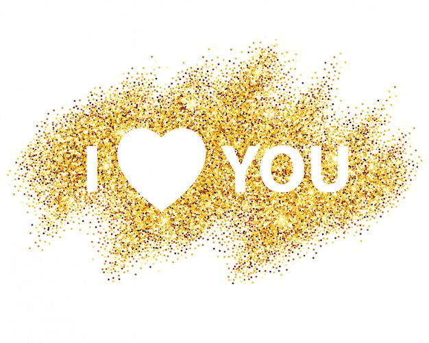 I love you message and heart golden glitter design.