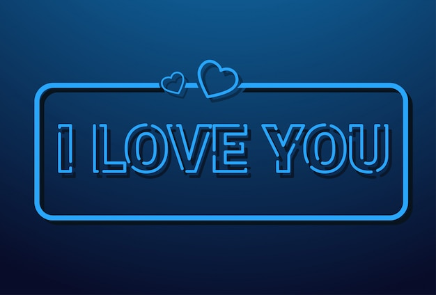 I love you message in retro style on blue background