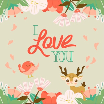 I love you message with floral theme