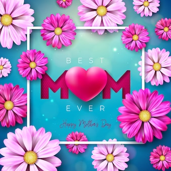 I love you mom. happy mother's day greeting card design with flower and red heart on blue background.   celebration illustration template for banner, flyer, invitation, brochure, poster.