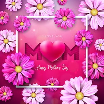 I love you mom. happy mother's day greeting card design with flower and red heart on pink background.  celebration illustration template for banner, flyer, invitation, brochure, poster.
