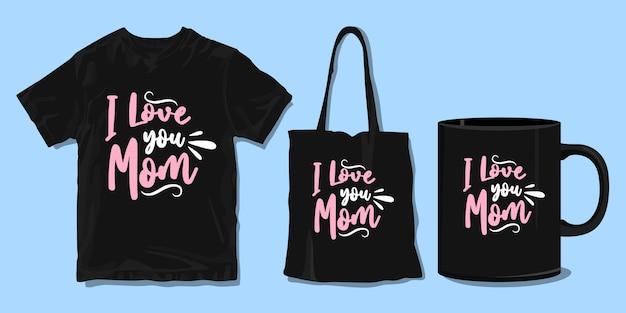 엄마 사랑 해요. 가족을위한 티셔츠. 인쇄용 상품