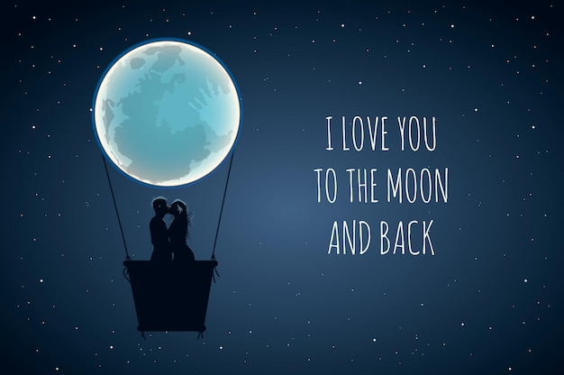 I love you to the moon and back. cute positive lover slogan with full moon and lovers in hot air.