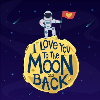 I love you to moon and back illustration