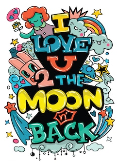 I love you to the moon and back.modern calligraphy vector