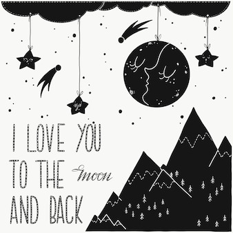 I love you to the moon and back - romantic poster.
