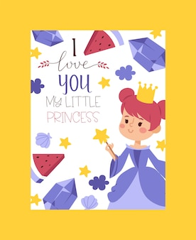 I love you my little princess invitation, greeting card. elegant little female characters in flat style. fashionable ladies in dresses.