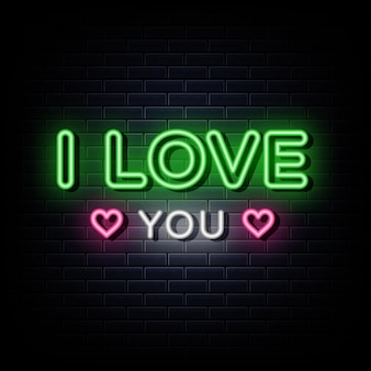 I love you neon sign and symbol
