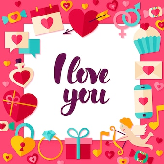 I love you paper concept. vector illustration flat style valentines day greetings concept with lettering.