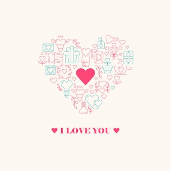 I love you poster with three words, big heart in centre with little heart inside and many beautiful images vector illustration