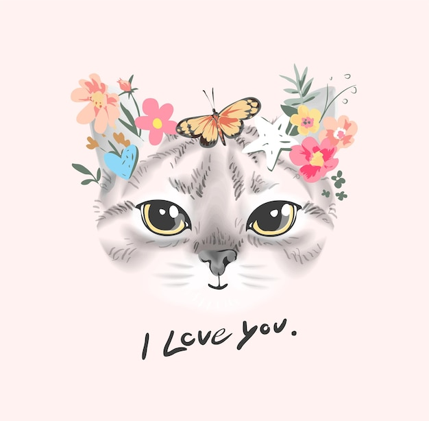 I love you slogan with cute cat face with colorful flowers illustration