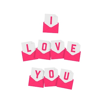 I love you text of pink letters. concept of valentines day, festive, amour, feeling, passion, sms, delivery, surprise, billet-doux. flat style trend modern logo graphic design on white background