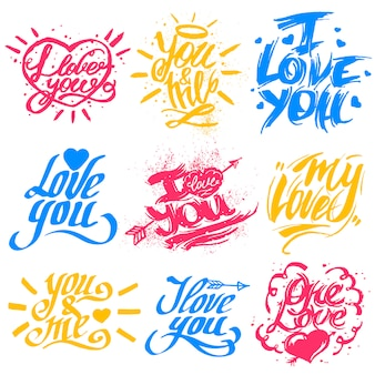 I love you text vector valentine lettering