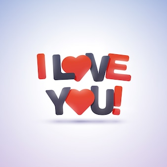 I love you text with hearts.  illustration.