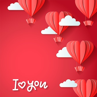 I love you - valentines day greetings card design with paper cut red heart shape hot air balloons flying with clouds