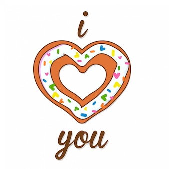 I love you vector illustration of a greeting card with a sweet heart donut