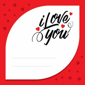 I love you with red pattern background