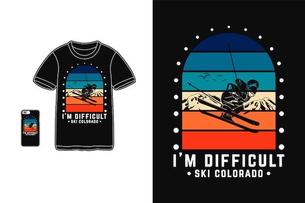 Tシャツシルエットレトロスタイルのスキーコロラドデザインが難しい