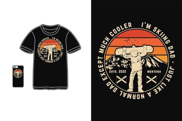 私はtシャツのシルエットのレトロなスタイルのためのお父さんのデザインをスキーしています