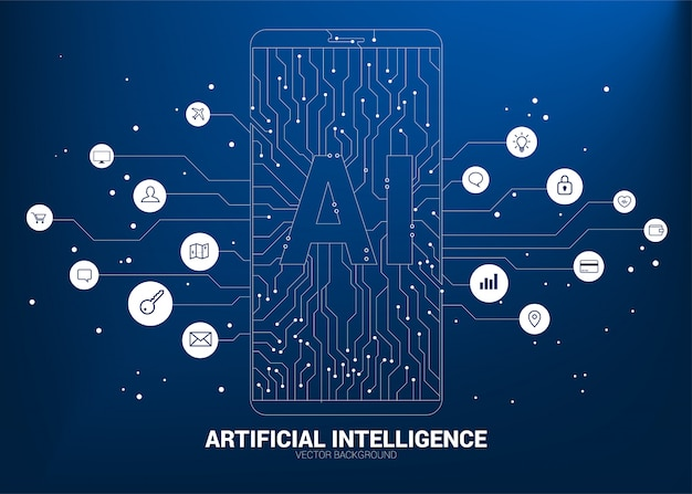 A.i. in mobile phone with circuit line graphic. concept of mobile telecommunication with machine learning. artificial intelligence