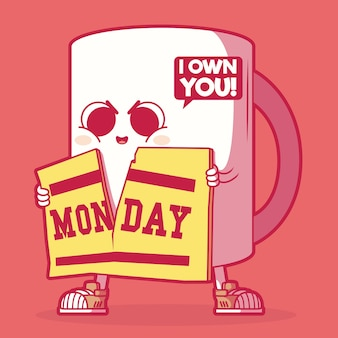 У меня есть чашка кофе в понедельник утром. мотивация, вдохновение, концепция рекламного дизайна