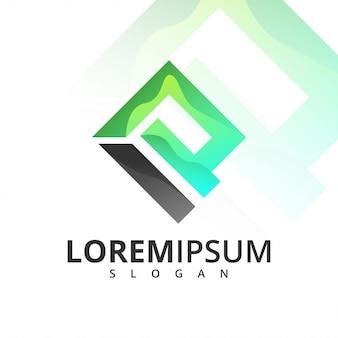 Геометрическая буква i и p логотип