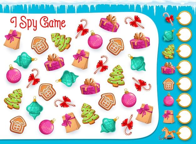 나는 크리스마스 과자와 아이템, 벡터 퍼즐이 있는 아이들을 위한 교육 게임을 스파이합니다. 유치원, 학교, 유치원을 위한 수학 워크시트입니다. 수리 능력 및 주의력 만화 수수께끼 페이지 개발