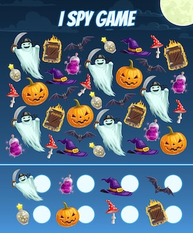 I spy game for kids with halloween characters
