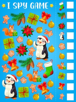 私は子供の教育のクリスマスプレゼントのテンプレートでゲームやパズルをスパイします。マインドゲーム、ロジックリドル、またはクリスマスベル、冬のホリデープレゼントボックス、ストッキング、サンタの帽子が付いたワークシートを見つけて数えます