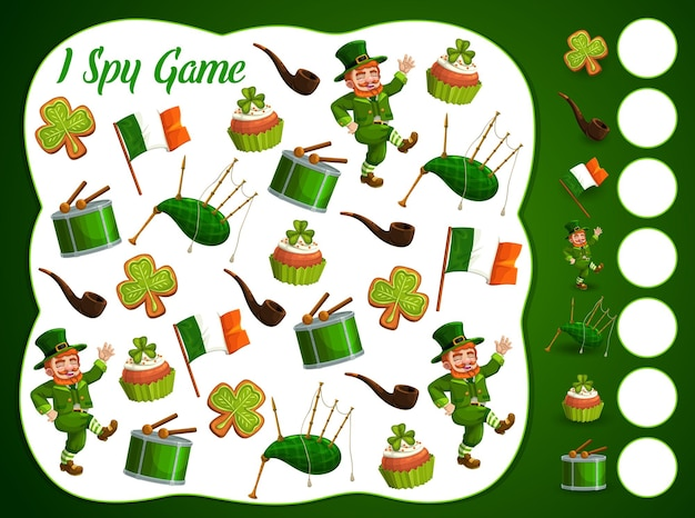 I spy kids game with st patrick day items, educational puzzle