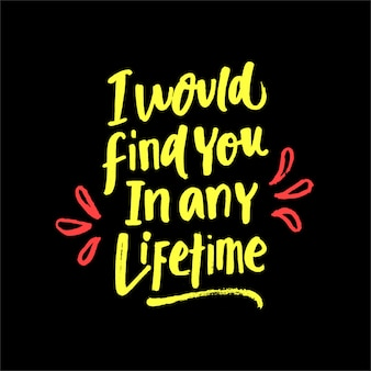 I would find you in any lifetime lettering motivation quote