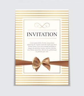 Винтажное свадебное приглашение с бантом и лентой, шаблон i