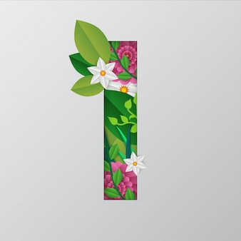 Иллюстрация i алфавита, сделанного цветами и листьями
