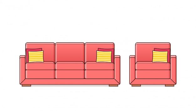 ソファ、ソファ、アームチェア線形アイコン、アウトライン家具i