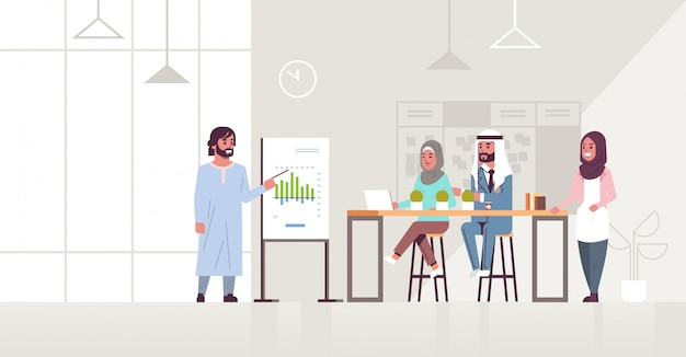 Ic businessman presenting financial graph on flip chart to arab businesspeople team at conference meeting training presentation concept modern co-working office interior full length horizontal