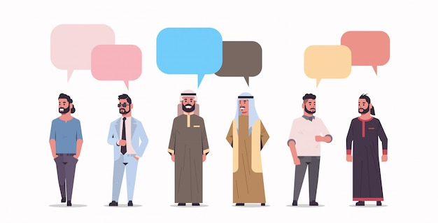 Ic businesspeople group standing together chat bubble communication concept arab men wearing traditional clothes speech conversation full length flat white background horizontal