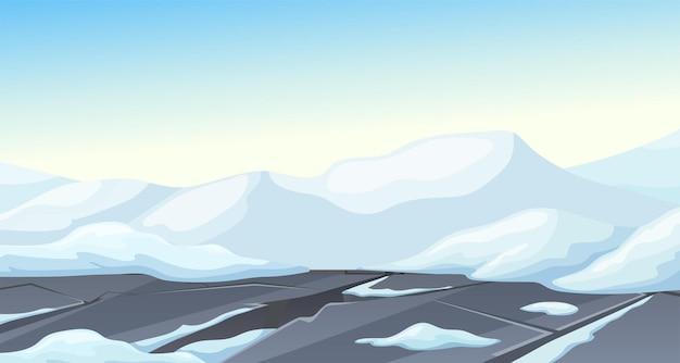 Ледниковый период замороженный парк разрушил дорогу после шторма