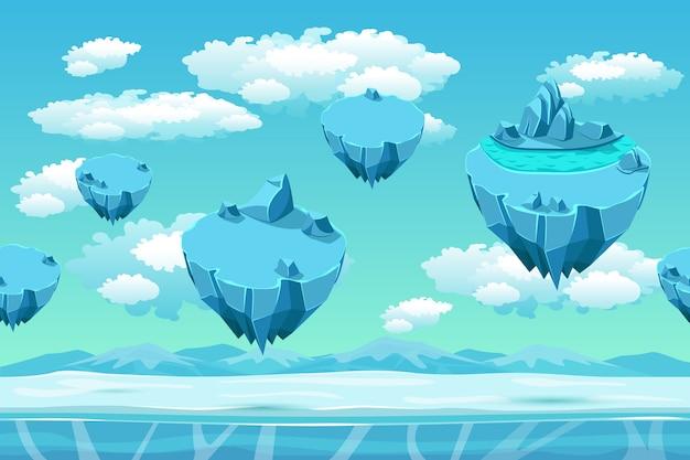 氷の島々と氷と雪。シームレスなゲームランドスケープ。ゲームの漫画の背景。雪のパノラマ、ゲームのユーザーインターフェイス、寒い北極圏、環境ゲーム、空飛ぶ島、ベクトル図