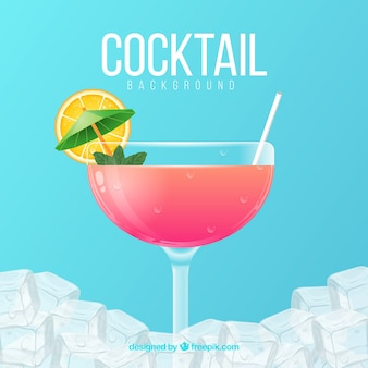 Ice background with cocktail