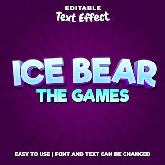 Ice bear the games редактируемый стиль текста с логотипом