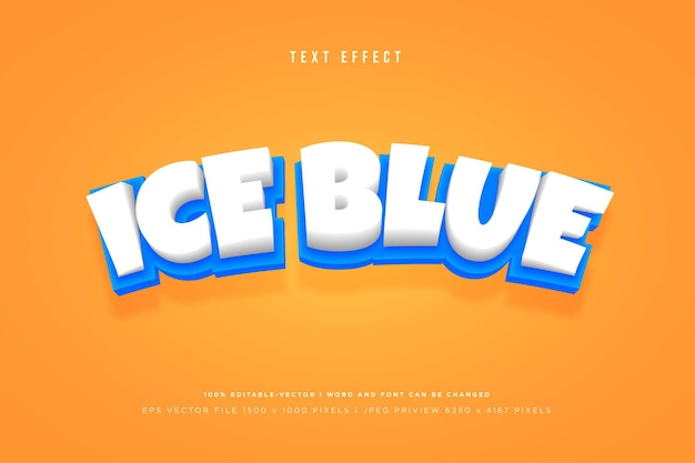 Ice blue 3d text effect template