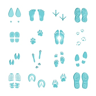 Ice blue color footprints on white background set
