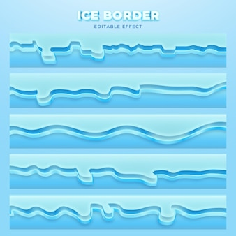 Набор векторных редактируемый эффект ледяной границы